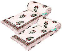 SD ENTERPRISES Jaipuri Traditional Cotton razai / rajai / ac Blanket with sanganeri Hand Block Print Single Bed Quilt Blanket Box with Boarded Pattern Black and White 55 x 85 inch Set of 2