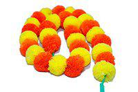 Improvhome Pack of 5 Pcs. of Artificial Marigold Flower Garlands 5 Feet Long (Red & Yellow)