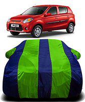 AUCTIMO Prime Quality 190T Imported Fabric Car Cover for Maruti Suzuki Alto 800 with Ultra Surface Body Protection (Green Stripes)