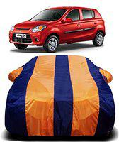 AUCTIMO Prime Quality 190T Imported Fabric Car Cover for Maruti Suzuki Alto 800 with Ultra Surface Body Protection (Orange Stripes)