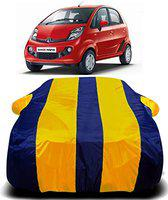 AUCTIMO Prime Quality 190T Imported Fabric Car Cover for Tata Nano with Ultra Surface Body Protection (Yellow Stripes)