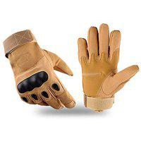 DreamPalace India Cycling, Riding, Mountain Bike, Full Finger Anti-Slip Gloves for Men and Women (Free Size) (Brown)