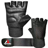 Aprodo All Leather Fitness Gym Gloves with Long Wrist Support (Black, Free Size)