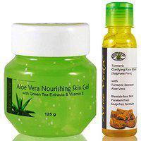 Aloe Veda Aloe Vera Multipurpose Beauty Gel for Face,Skin and Hair- Pure Natural Gel - Ideal for Skin, Face, Acne Scars, Hair Care, Moisturizer & Dark Circles (Aloe Vera Gel + Turmeric Face Wash)