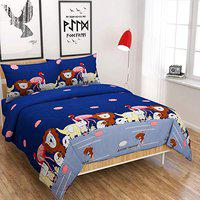 Kritarth Handicrafts Super King Size Cartoon Character Bedsheets with 2 Pillow Covers (108*108 Inch)