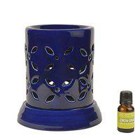 StyleMyWay Ceramic Electrical Aroma Diffuser with Essential Oil (7 inches, Dark Blue) | Electric Aroma Burner | Electric Humidifier | Night Lamp