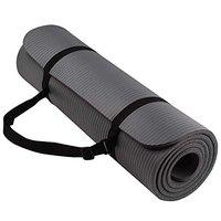 SIGNATRON Extra Thick Yoga and Exercise Mat Anti Skid with Carrying Strap for Gym Workout and Flooring Exercise (Made in India) (Grey, 10 MM)