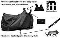 Movell Trend Water and Heat Resistant Bike Cover (Solid Black) with Side Mirror Pocket, Accurate Fitting Compatible With Centuro