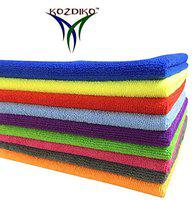 Kozdiko Microfiber Cleaning Cloth 350 GSM Universal for Car & Motorbike Pack of 9 (40 x 40 cm) for Home & Kitchen, Mobile, Laptop, Office