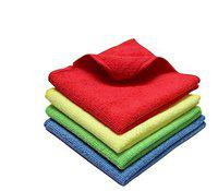 Kozdiko Microfiber Cleaning Cloth 350 GSM Universal for Car & Motorbike Pack of 4 (40 x 40 cm) for Home & Kitchen, Mobile, Laptop, Office