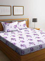 SWHF Premium Cotton Double Bed Sheet with Two Pillow Covers: (Purple)