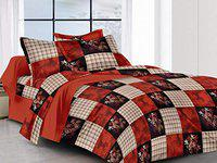 Guruji 180TC Polycotton Double Bedsheet with 2 Maching Pillow Cover Size 220 X220 Color Brown