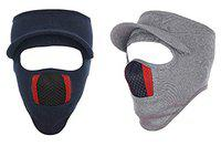 Gajraj Unisex Cotton Bike Riding & Cycling Anti Pollution Dust Sun Protecion Full Face Cover Mask with Air Filter Mesh and Visor - Pack of 2 (Navy & Light Grey)