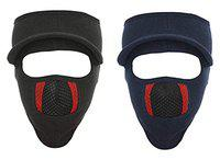 Gajraj Unisex Cotton Bike Riding & Cycling Anti Pollution Dust Sun Protecion Full Face Cover Mask with Air Filter Mesh and Visor - Pack of 2 (Black & Navy)