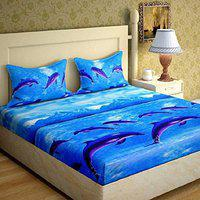 N G PRODUCTS Polycotton Double Bed Sheet with 2 Pillow Cover, Size 90 x 90 inch Dolphin Design
