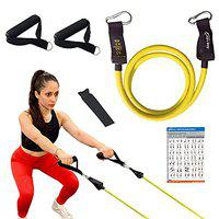 Joyfit Resistance Tube - Stackable Toning Tube Exercise Bands, Foam Handles,Door Anchor & Workout Chart Resistance Band for Home & Gym Workout, Strength Training and Workout for Men and Women.[1pc]
