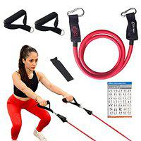 Joyfit Resistance Tube - Stackable Toning Tube Bands, Foam Handles,Door Anchor & Workout Chart Resistance Band for Home & Gym Workout, Strength Training and Workout for Men and Women.[1pc]