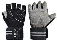 X-TREME Unisex Workout Gym Gloves with Wrist Support for Men & Women, Weightlifting Training, with Silica Gel Padding for Grip (Black, Large)