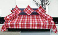 New Ladies Zone Cotton Diwan Set of 6 pc(one Bed Sheet 60x90 inch,3 cushan Cover 40x40 cm,Bolster Covers 14x32 inch,2 pc)