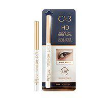 CVB KJS402 HD Glide-On Auto Kajal for 12H Long Lasting Stay, Single Stroke Eyeliner Pencil with Attached sharpener (Pure White, 0.35g)