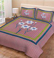 Poorak King Size Double bedsheet with Pillow Cover Cotton -Size - 7.65 ft x 6.9 ft Printed 4L Pink