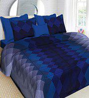 aarav Cotton Printed Queen Size Grey Double Bedsheet with 2 Pillow Cover