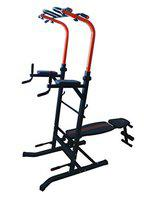 DOLPHY Steel Multi Function Power Tower Dip Station Adjustable Height Pull Up Bar Standing Tower for Home and Gym (Black, Red)