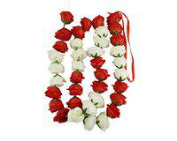 Kriti Creations Artificial Flowers for Diwali Decoration | Red,White Flowers| Flowers Petal Hanging ladi for Home | Home Decoration | Festival |Office Decoration| (6Ft) Pack of 2