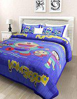 Poorak King Size Double Bed Kids bedsheet with Pillow Cover Cotton -Bad Sheet Kids Size - 7.65 ft x 6.9 ft Printed Dora Purple