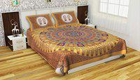 Poorak King Size Double bedsheet with Pillow Cover Cotton -Size - 7.65 ft x 6.9 ft Printed ABS Yellow