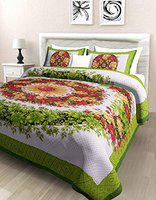 Poorak King Size Double bedsheet with Pillow Cover Cotton -Size - 7.65 ft x 6.9 ft Printed Flora Green