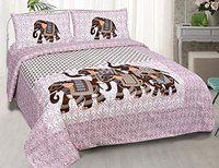 Divik Crafts Pure Cotton Jaipuri Double Bedsheet Set with 2 Pillow Covers Light Pink Shade .