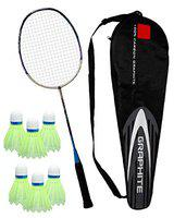 Toyshine Professional Badminton Racket, Lightweight, Head Light, One Piece High Modulus 24-Ton Graphite, Strung Includes Full Cover with 6 pc Nylon shuttles (SSTP)