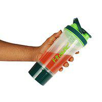 Fitastic Premuim Protein Shaker Bottle with Carrying Loop and Compartment (Green) 500 ml Shaker(Pack of 1, Green, Tritan)