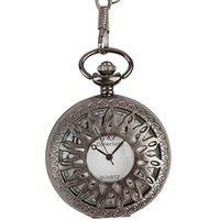 Dice Steel Grey Polish Pocket Watch SG123, Useful for Male Female Unisex, can be Used as Locket/Pendant. Outer Body Shows Sun.