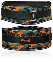 Aurion Body Squad Weight Lifting Belt Pro Quality Neoprene Back Support Belt with Speed Grip Strip Closure and Stainless Steel Hook and Loop Design - 6 Wide Soft Feel Padding (Camo Orange, Medium)