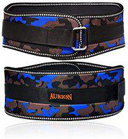 Aurion Body Squad Weight Lifting Belt Pro Quality Neoprene Back Support Belt with Speed Grip Strip Closure and Stainless Steel Hook and Loop Design - 6 Wide Soft Feel Padding (Camo Blue, XL)