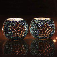 Brahmz Glass Multi Shape Beads Design Tealight Candle Holders Glass Votive for Home Dcor, Gifting Set of 2 (Silver Star)
