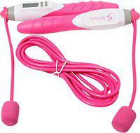 Spinway Digital Skipping Jump Rope with Skip Count and Calorie Burn Display for Weight Loss Exercise and Fitness (Pink)