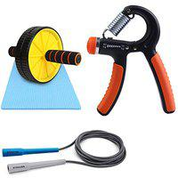Strauss Adjustable Hand Grip Strengthener, (Black/Orange) with Double Exercise Wheel and Skipping Rope