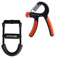 Strauss Adjustable Wrist & Forearm Strengthener (Black) with Hand Grip