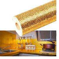 EVER MALL Kitchen Silver Oil Proof Waterproof Paper Aluminum Foil Backsplash Sticker Stove Cabinet Liner Decor Self Adhesive Wallpapers (200cm x 60cm,Gold)