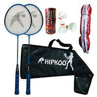 Hipkoo Sports Fine Badminton Combo Set with 2 Rackets, 3 Feather Shuttles and Net (Blue)