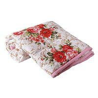 Delight Poly Cotton Gold Red Flowers Printed Dohar Double Bed Reversible AC Dohar/AC Comfort/Blanket