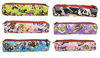 Fully Multipurpose Emoji Printed Pencil Box Pouch for Boys and Girls Set of 6