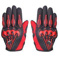 AdroitZ Full Finger Motorcycle Riding Gloves/Racing Gloves (X-Large, Red)