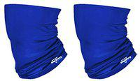 HeadTurners Unisex Neck Gaiter Headband Bandana for Dust & Sun Protection - Face Cover/Scarf for Fishing, Hiking, Cycling & ATV Riding - Breathable Summer Polyester Headwear (Royal Blue, Set of 2)