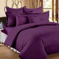 Blenzza Deco 210 TC Cotton Bedsheet for Double Bed with 2 Pillow Covers-Purple