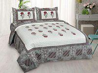 Serene Dcor Jaipuri Cotton Rajasthani King Size Double bedsheet with 2 Pillow Covers 95X108 inches (AE828, Multi)