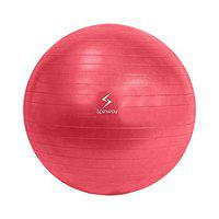 Spinway Anti Burst Gym Ball for Fitness and Excercise with air Pump, Size: 75cm (Red)